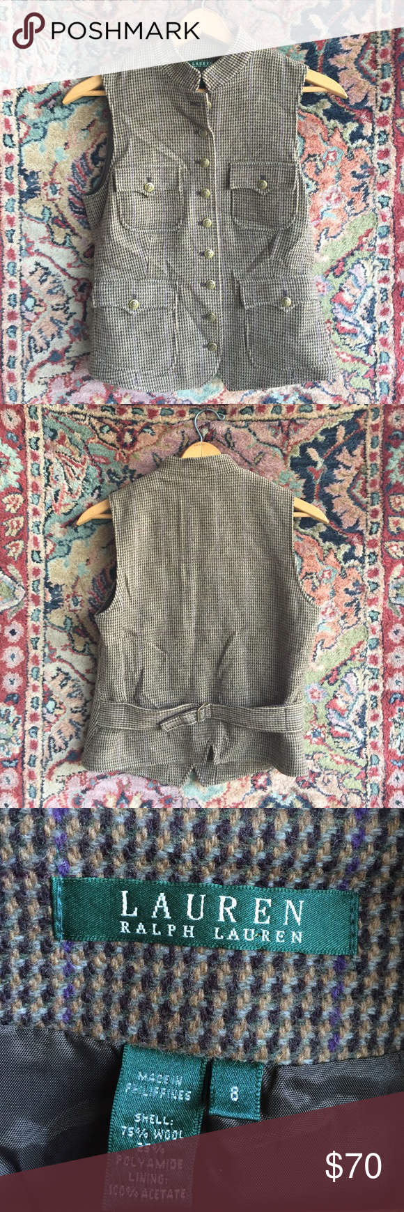 """Lauren Ralph Lauren Vest The perfect layer to pull your outfit together. Beautiful buttons, clasp at back for the perfect fit and the colors and quality you expect fro LRL! In excellent used condition with no issues. 18"""" underarm to underarm and 22"""" L Lauren Ralph Lauren Jackets & Coats Vests"""