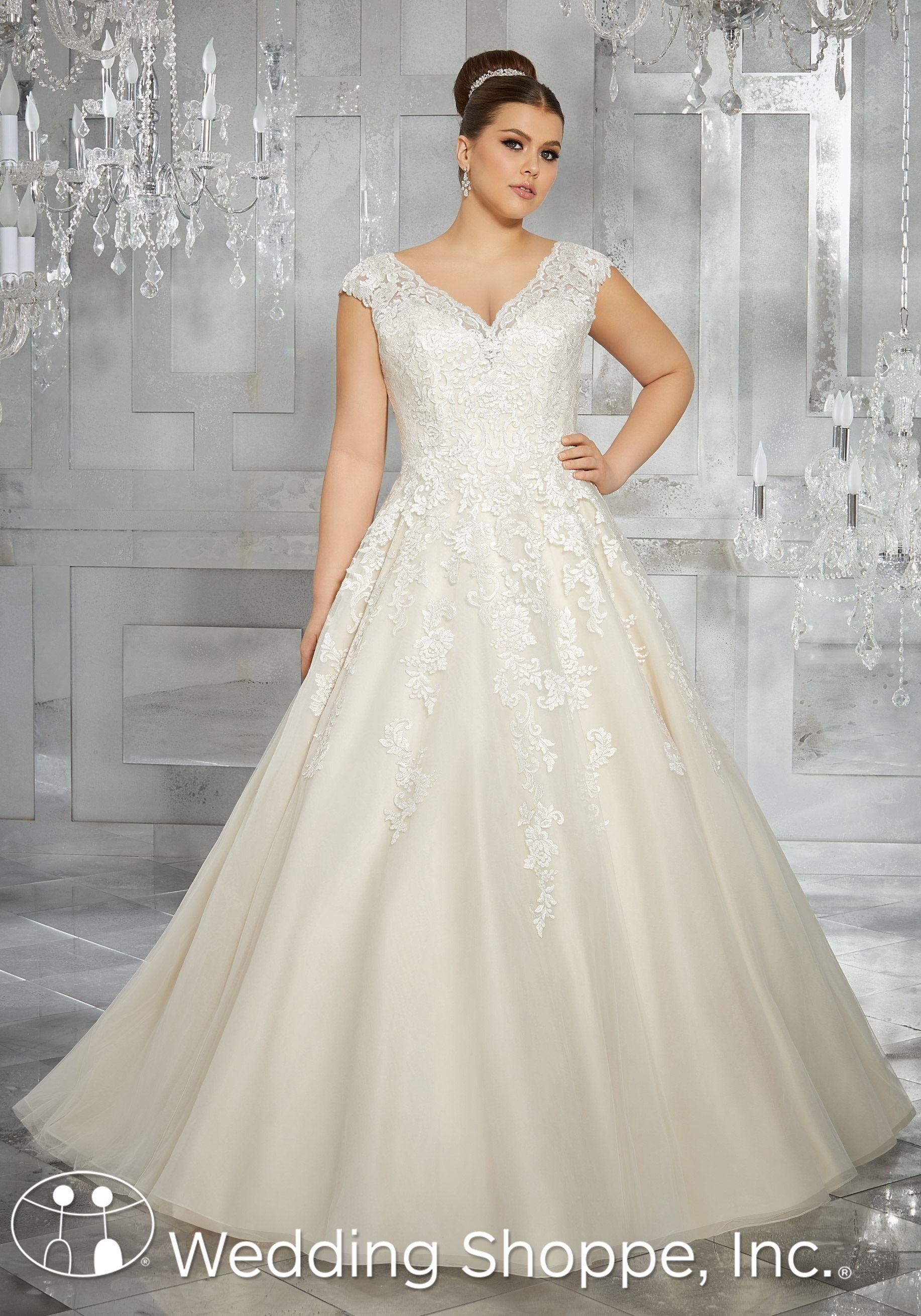 Gorgeous Lace Applique Ball Gown For Plus Size Brides The Wedding Shoppe Julietta By Mori Lee Bridal Ball Gown Plus Size Wedding Gowns Plus Wedding Dresses [ 2620 x 1834 Pixel ]