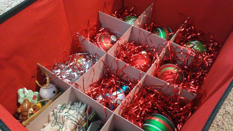 Ornament Storage! Use cheap decorative filler from Dollar Tree to