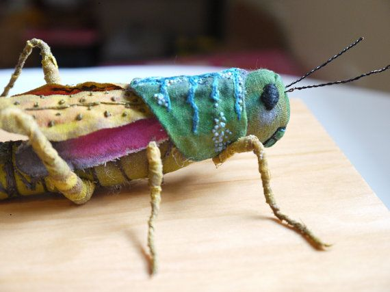 Fabric sculpture - Grasshopper textile art (by irohandbags on etsy) nolan would love this!