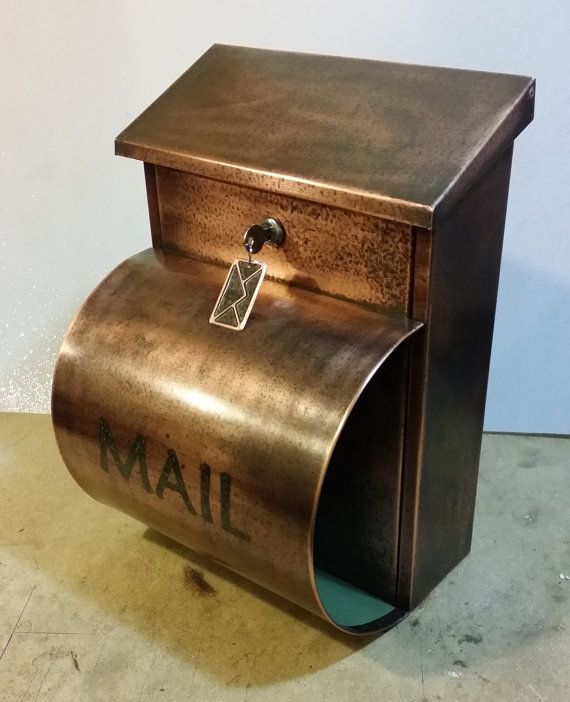 Large Patina Copper Mailbox With Newspaper Holder By Copperdesign 185 00 Copper Mailbox Copper Patina Newspaper Holder