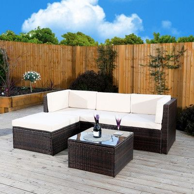 gouveia 4 seater rattan effect corner sofa set garden patio rh pinterest com