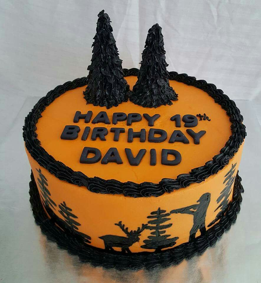Hand painted hunting scene birthday cake Happy 19th