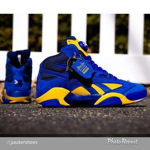 Blue, gold Reebok pumps | Kicks shoes