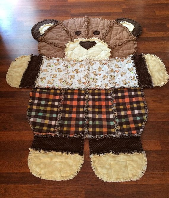 Rag Quilt Bear Shaped In Tans And Browns By