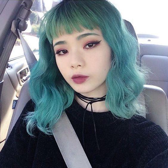 Cabello verde turquesa