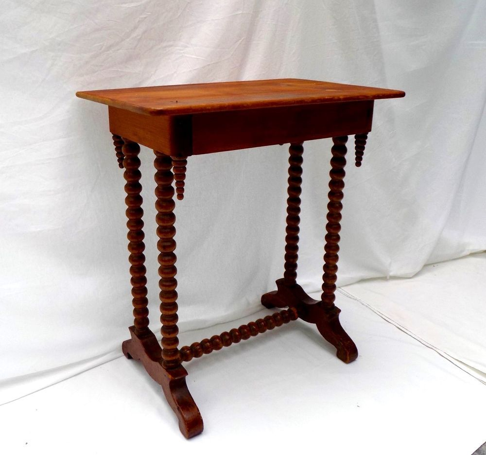 Victorian furniture table - Antique Bobbin Spool Turned Leg Hallway Parlor Side Table Victorian Primitive