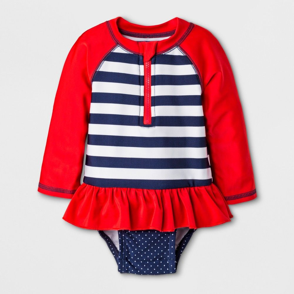 fe08abd7 Baby Girls' Long Sleeve Stripe One Piece Swimsuit - Cat & Jack Red 6-9M  Color: Blue. Gender: Female. Age Group: Infant. Material: Recycled  polyester.
