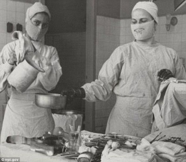 It its early years, however, the hospital did not use anesthetics. Pictured above, doctors prep for an operation in what is believed to be the 1950s