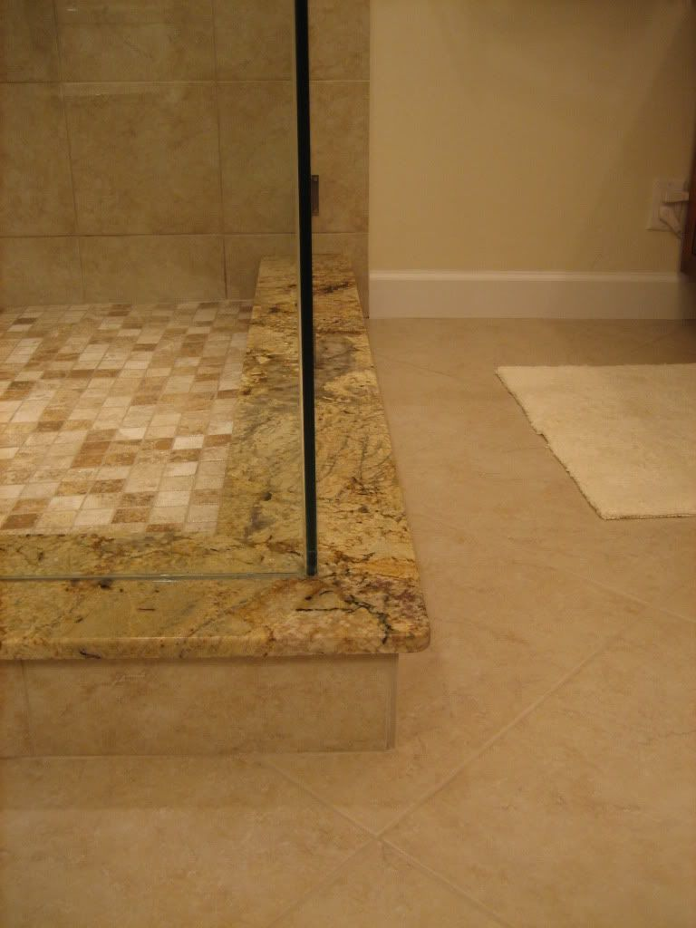 Shower Ideas Do A Solid Piece For The Shower Curb Top Too This Is 8 Granite On A 6 Curb Shower Curb Bathroom Shower Bath Makeover