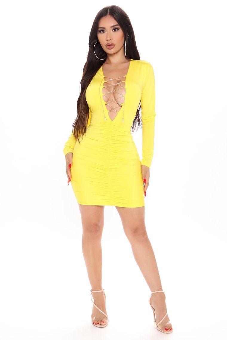 Chain The Trend Ruched Mini Dress Yellow in 2020 Mini
