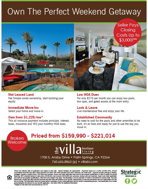Fall In Love Palm Springs Condos From 160 000 Www Villabl Com