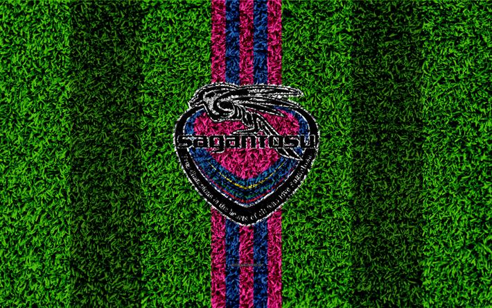 Hämta bilder Sagan Tosu FC, 4k, logotyp, fotboll gräsmatta, japanska football club, rosa blå linjer, gräs konsistens, J1 League, Nagoya, Tosu, fotboll, J-League