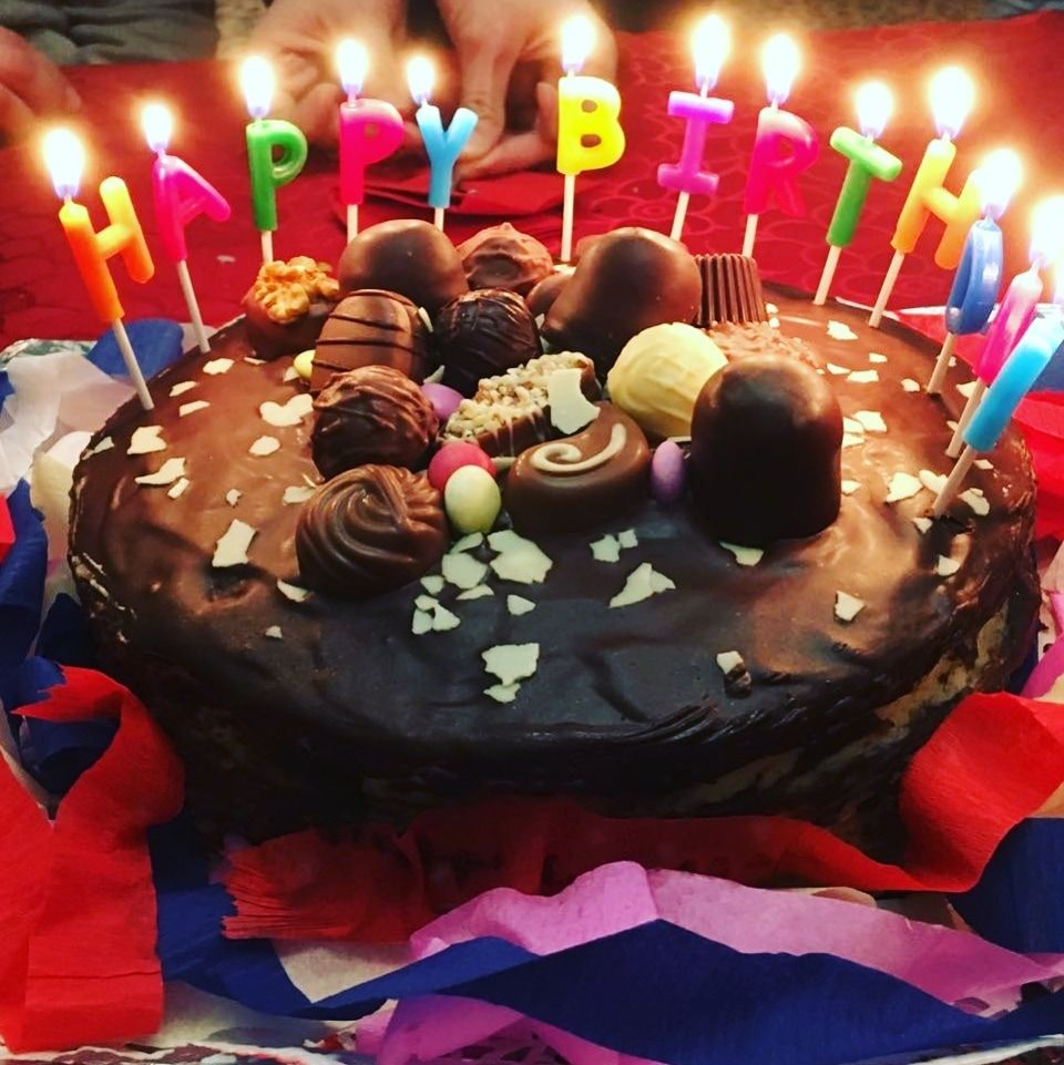 Birthday Cake With Vanilla Cream Filling Chocolate Cover And A