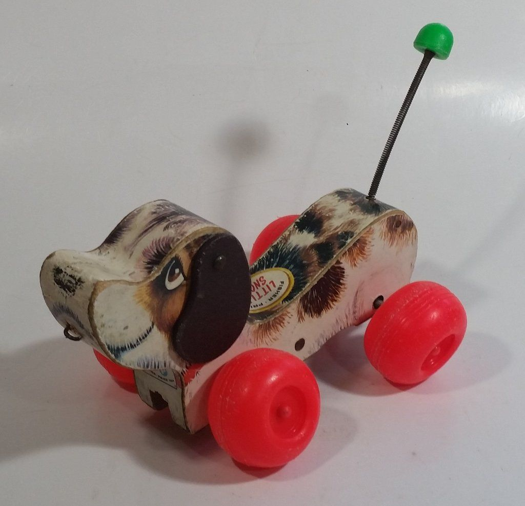 1968 Fisher Price Little Snoopy Dog Pull Toy Noise Maker Puppy