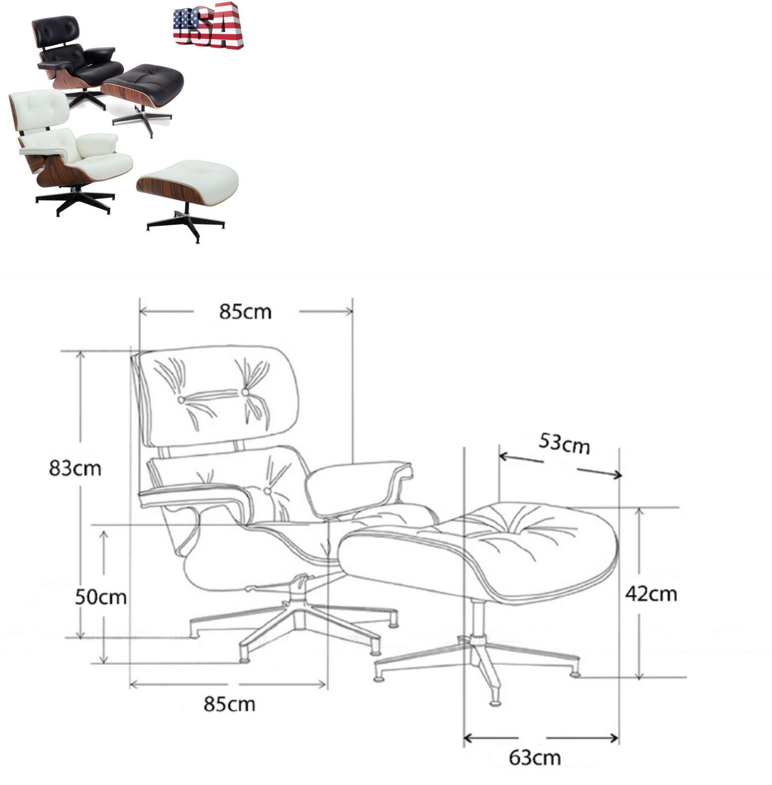Pleasing Chairs 54235 Mid Century Lounge Eames Chair And Ottoman Top Pdpeps Interior Chair Design Pdpepsorg