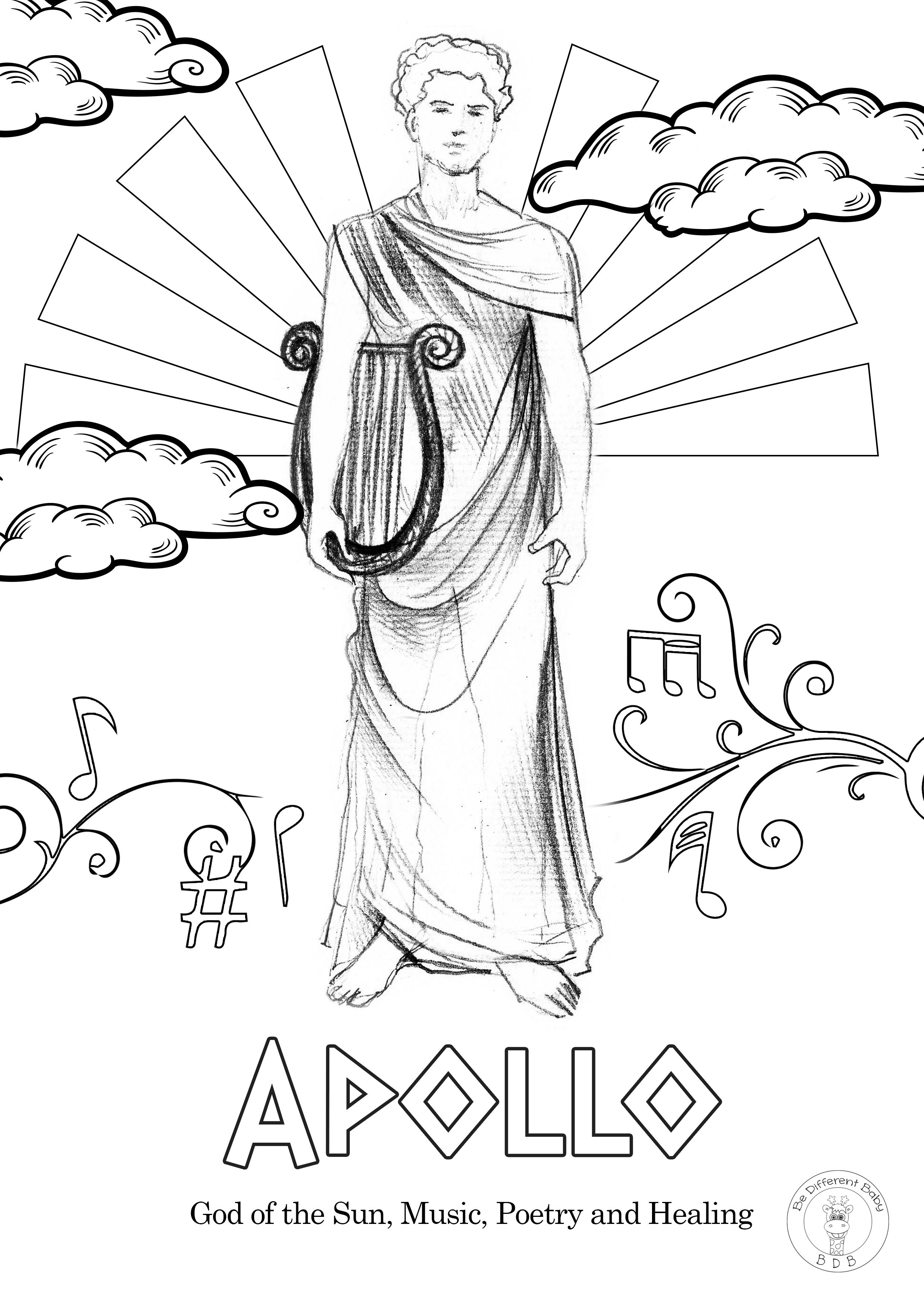 Greek Gods Coloring Pages Be Different Baby God Illustrations Greek Gods Coloring Pages