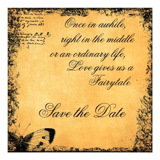 Small Wedding Quotes: Vintage Fairytale Love Quote Save The Date Card