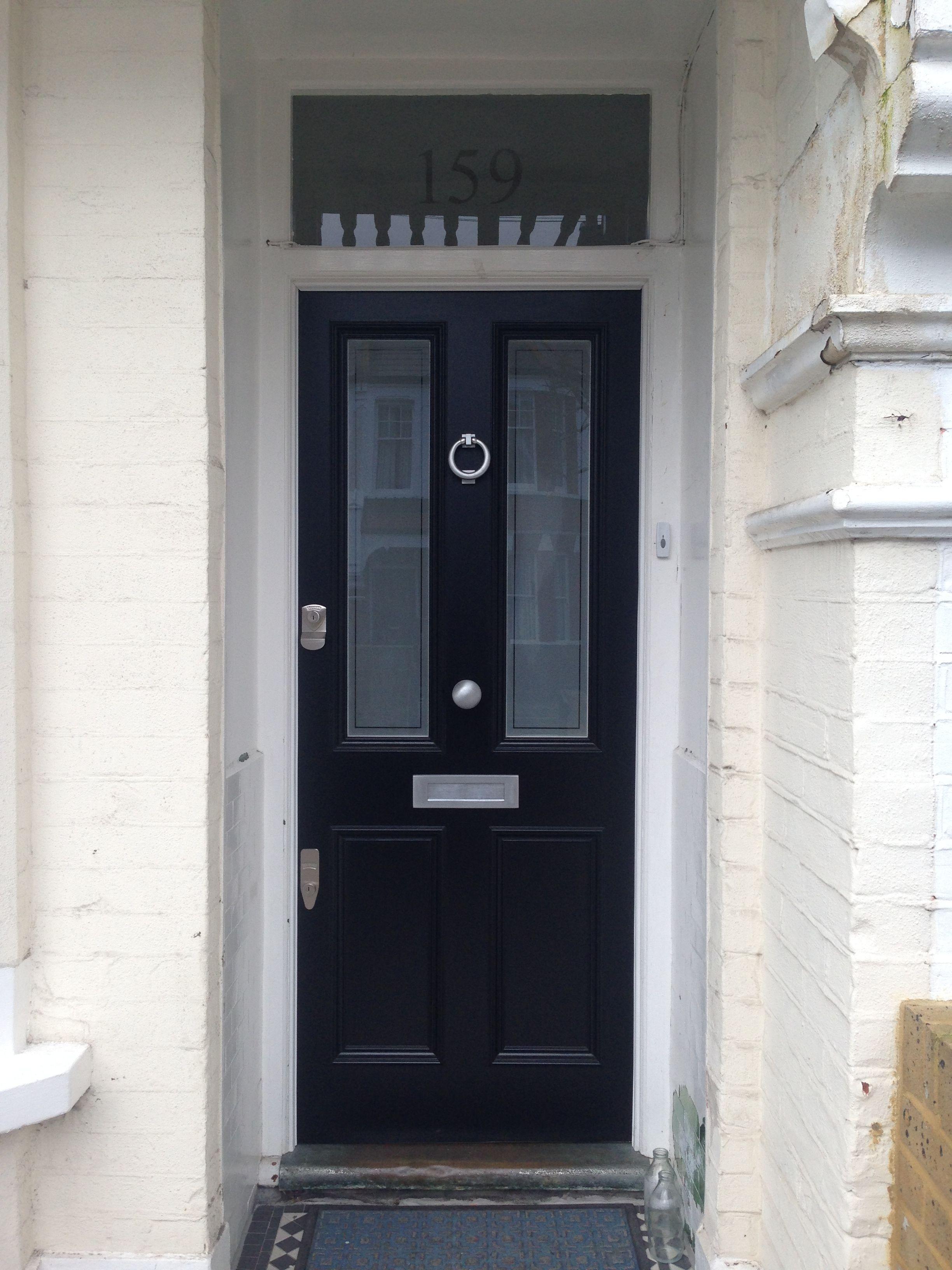 Beautiful black period front door in london period front for Victorian doors