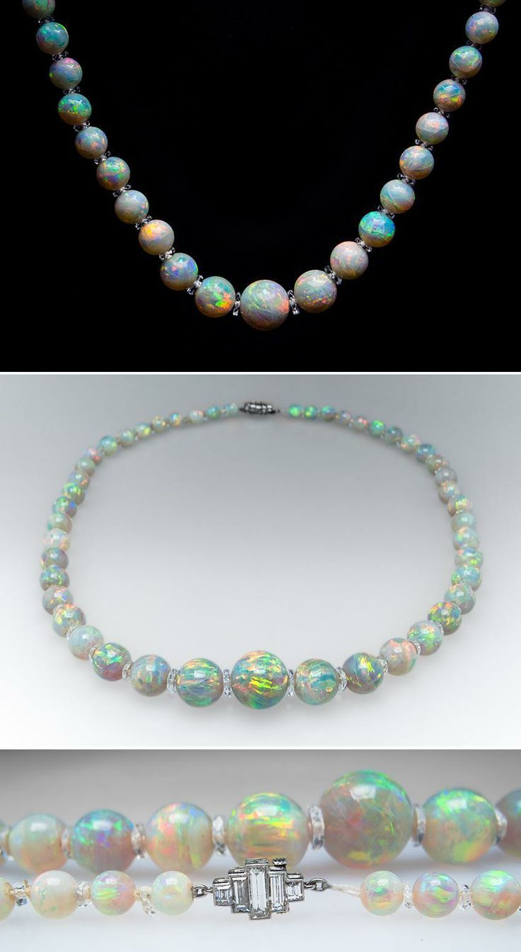 1900's Antique Crystal Opal Bead Necklace with Platinum Diamond Clasp & Quartz. OMG!!! I'd never seen round opals and now I think I'm in love!