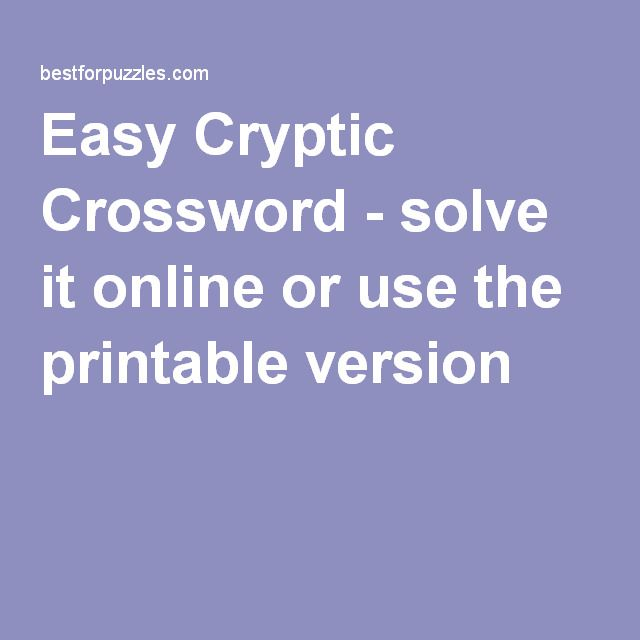 picture relating to Cryptic Crosswords Printable known as Simple Cryptic Crossword - clear up it on the web or seek the services of the