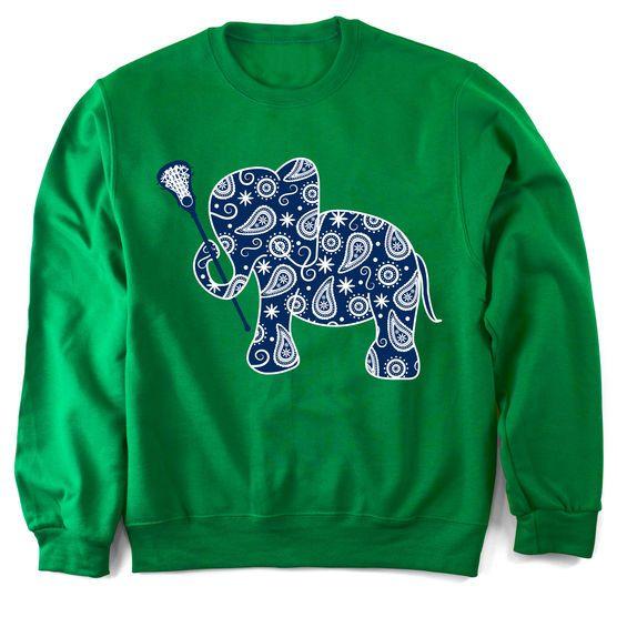 cba2724e Girls Lacrosse Crew Neck Sweatshirt Lax Elephant | LuLaLax ...