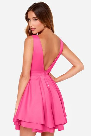Sexy Fuchsia Dress - Backless Dress - Skater Dress -  55.00  1b527bc72