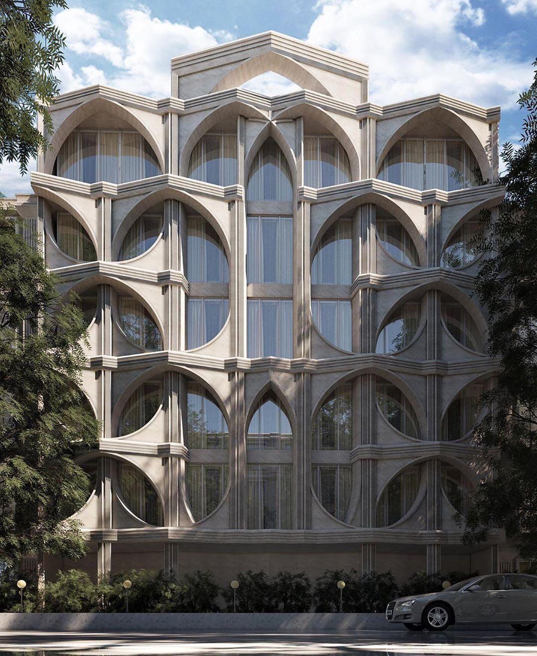 Designboom Magazine On Instagram Post Modern Iranian Facade Render By Ali Goshtasbi Rad Post Modern Architecture Amazing Architecture Facade Design