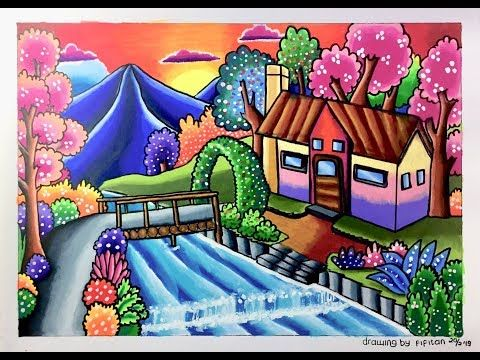 Cara Menggambar Dan Mewarnai Pemandangan Rumah Tepi Sungai Youtube Pemandangan Gambar Cara Menggambar