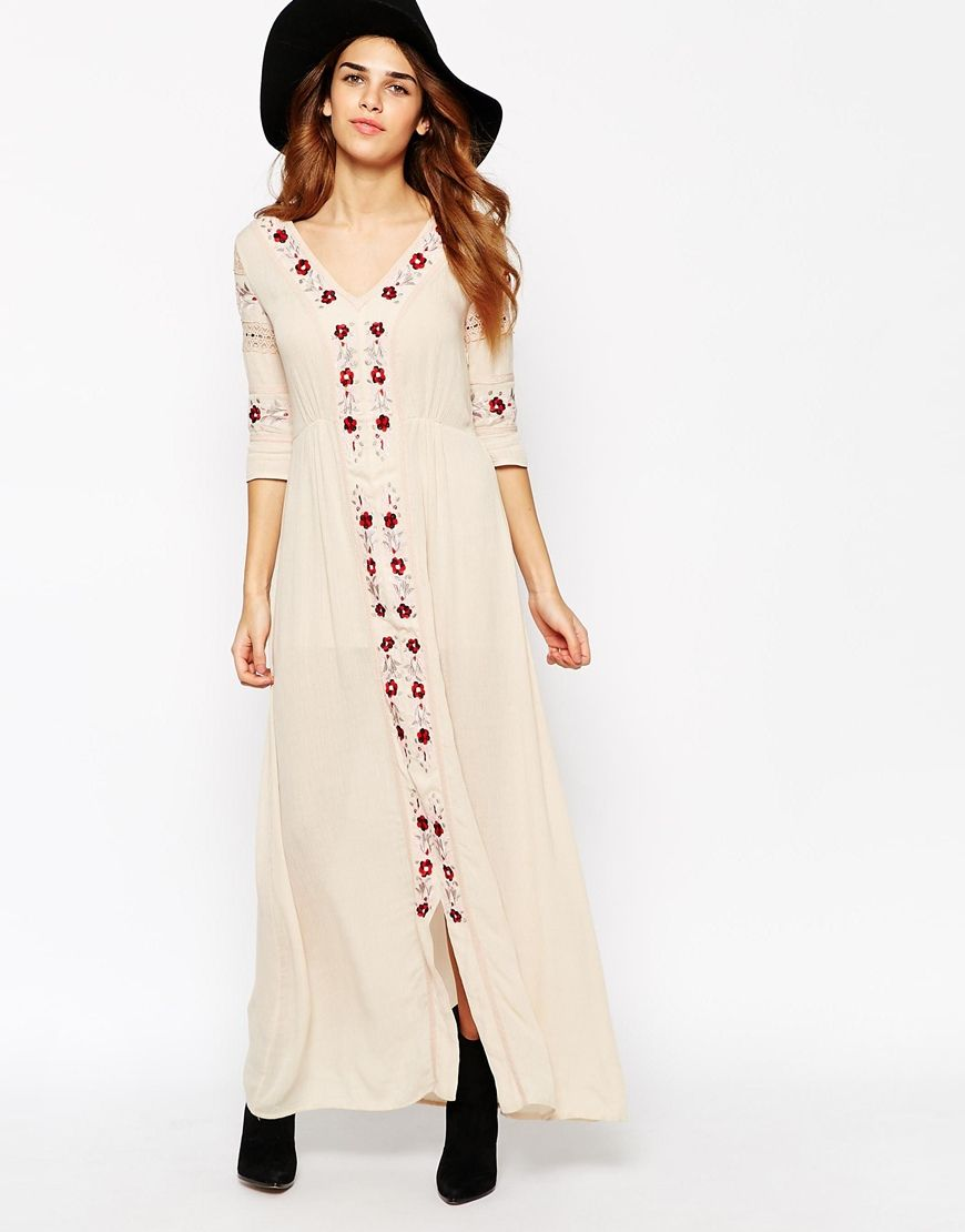 0bcd0a483c Glamorous Folk Maxi Dress With Embroidered Trims | Festival Fashion ...