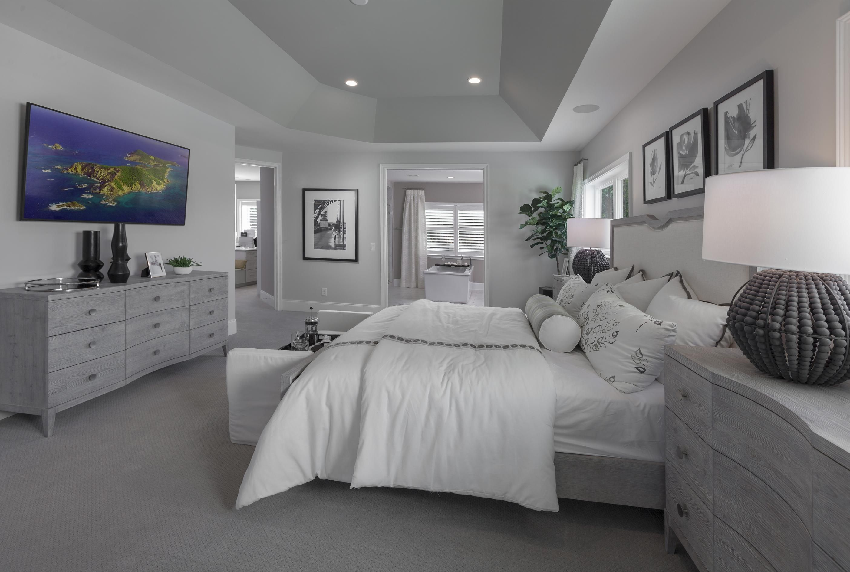 A Calming Color Scheme And Spacious Design Make Falling Asleep In This Master Bedroom A Breeze Pictured A Luxurious Bedrooms House Master Bedroom Ideas Home Spacious and luxurious bedroom