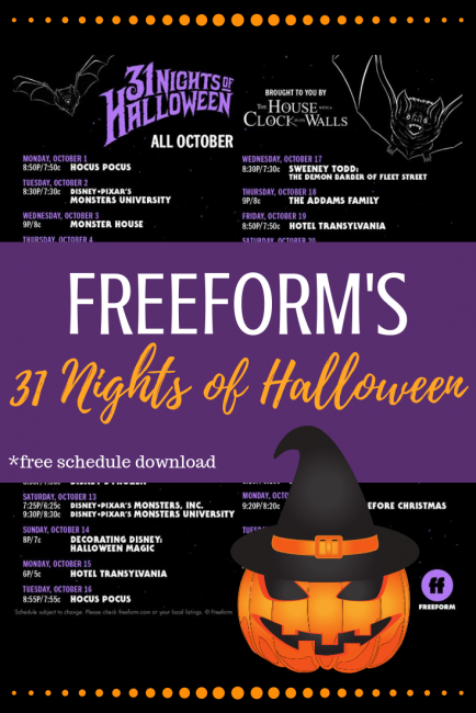 freeforms 31 nights of halloween movie schedule is out halloween