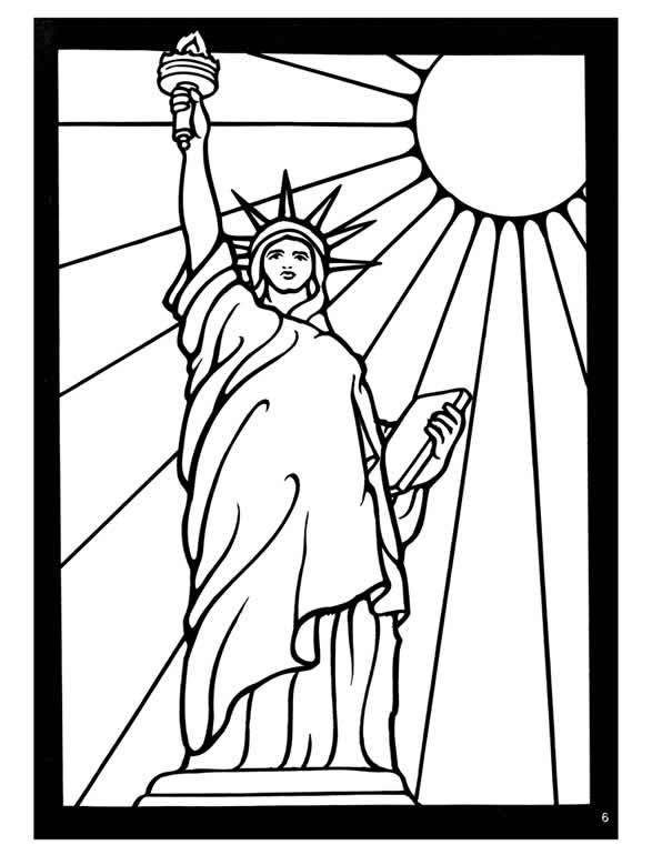 welcome to dover publications statue of liberty color page