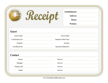Reservation Receipt Lodging Business Template Receipt Dramatic Play