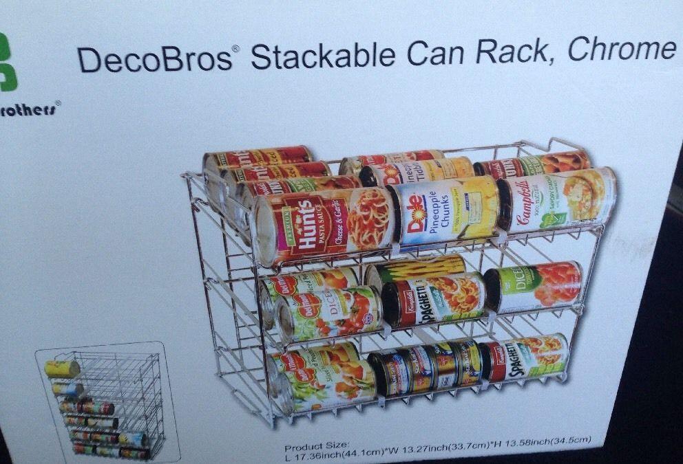 36 Can Rack Organizer Storage Store Stackable Chrome Finish Kitchen RV Dorm NEW #DecoBros