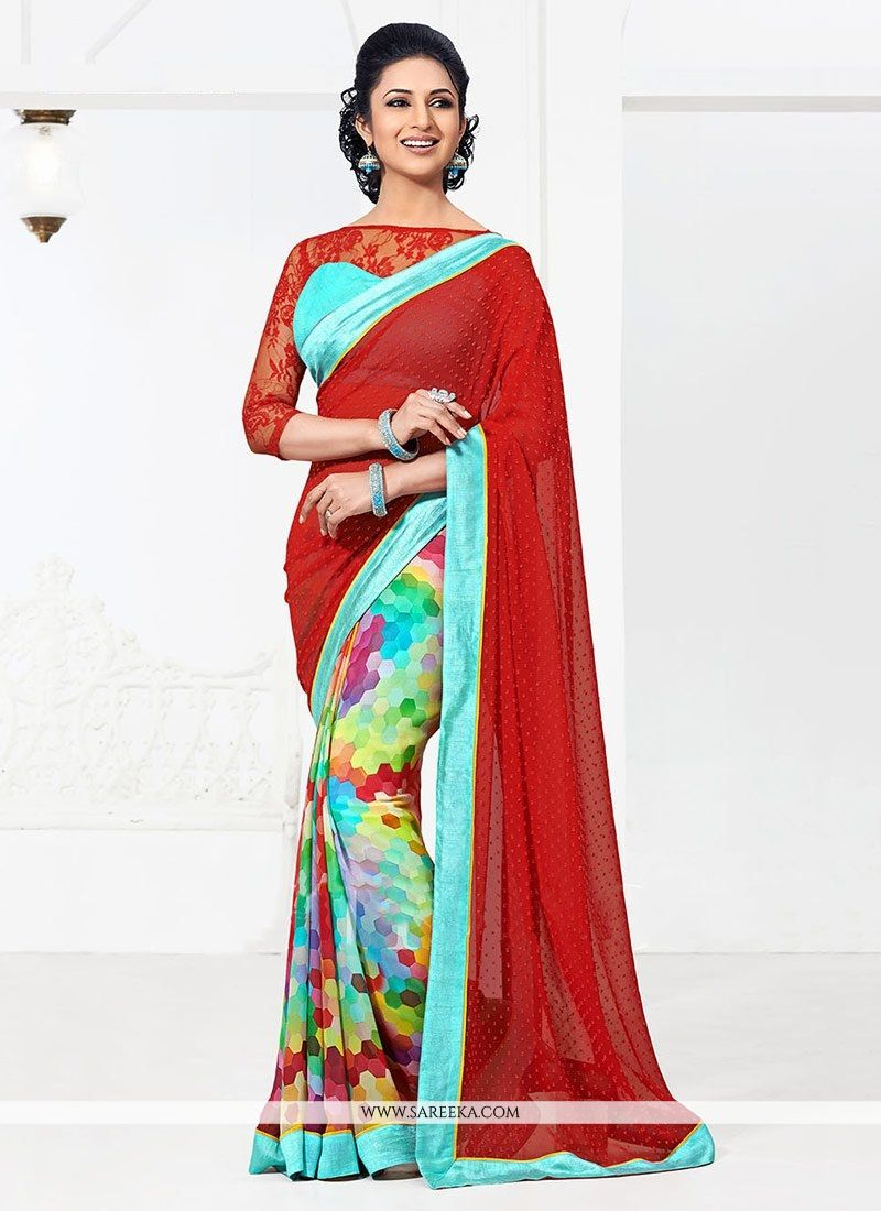 Latest multicolored bember georgette half and half saree comprising multi hues of pixelated pattern on the lower part and the second half is elevated by the self colored jacquard buttis all over. The ...