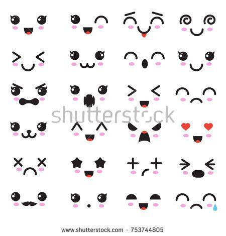 Stock Vector Cartoon Kawaii Eyes And Mouths Cute Emoticon Emoji Characters In Japanese Style Vector Emotion Smil Kawaii Faces Kawaii Drawings Emoji Drawings