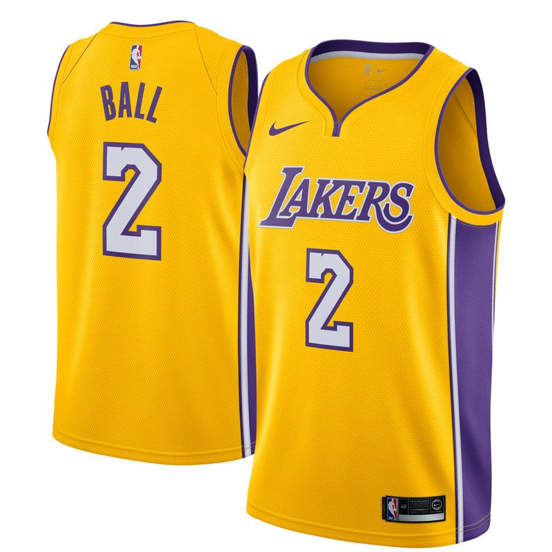 separation shoes c8e53 23af0 Lonzo Ball Los Angeles Lakers Nike Swingman Jersey Yellow ...
