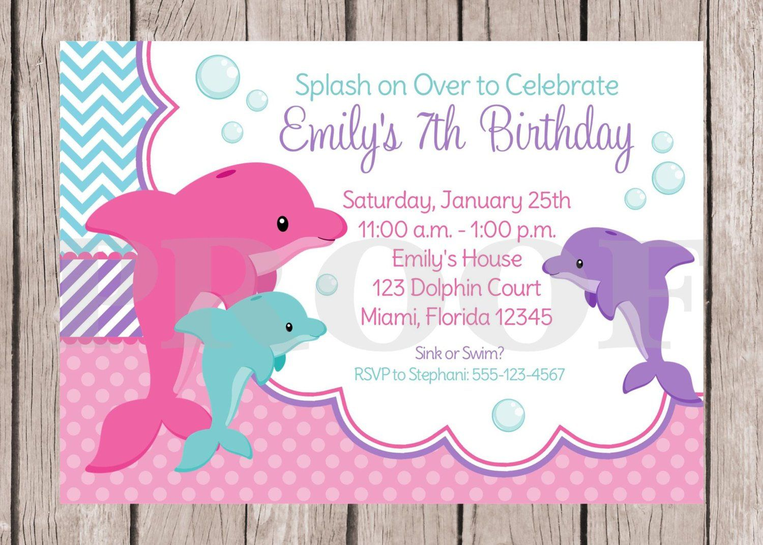 PRINTABLE Pink Dolphin Birthday Party Invitation And
