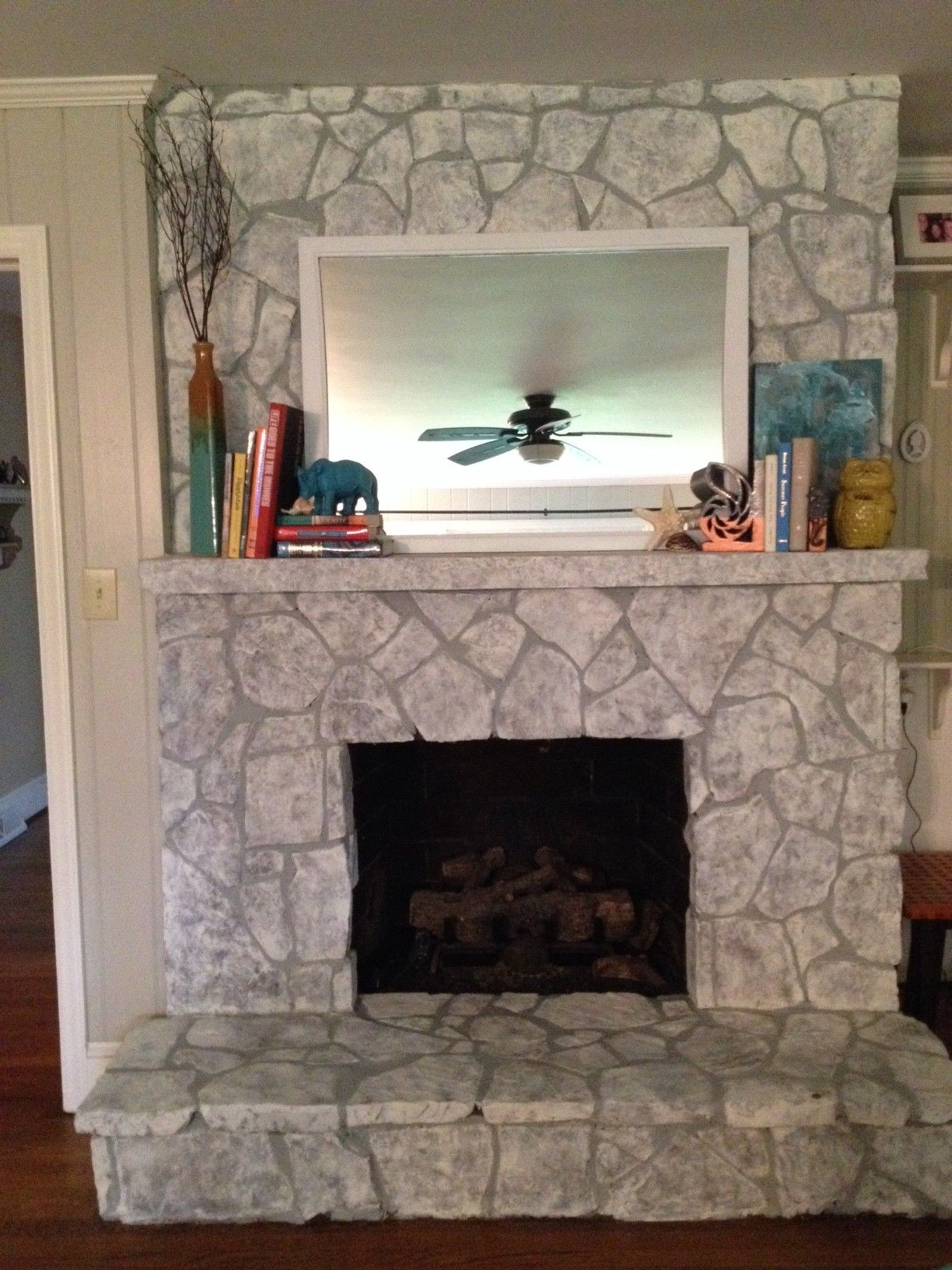 Painting a Stone FireplaceFinally I Did It   Fireplace  Whitewash stone fireplace