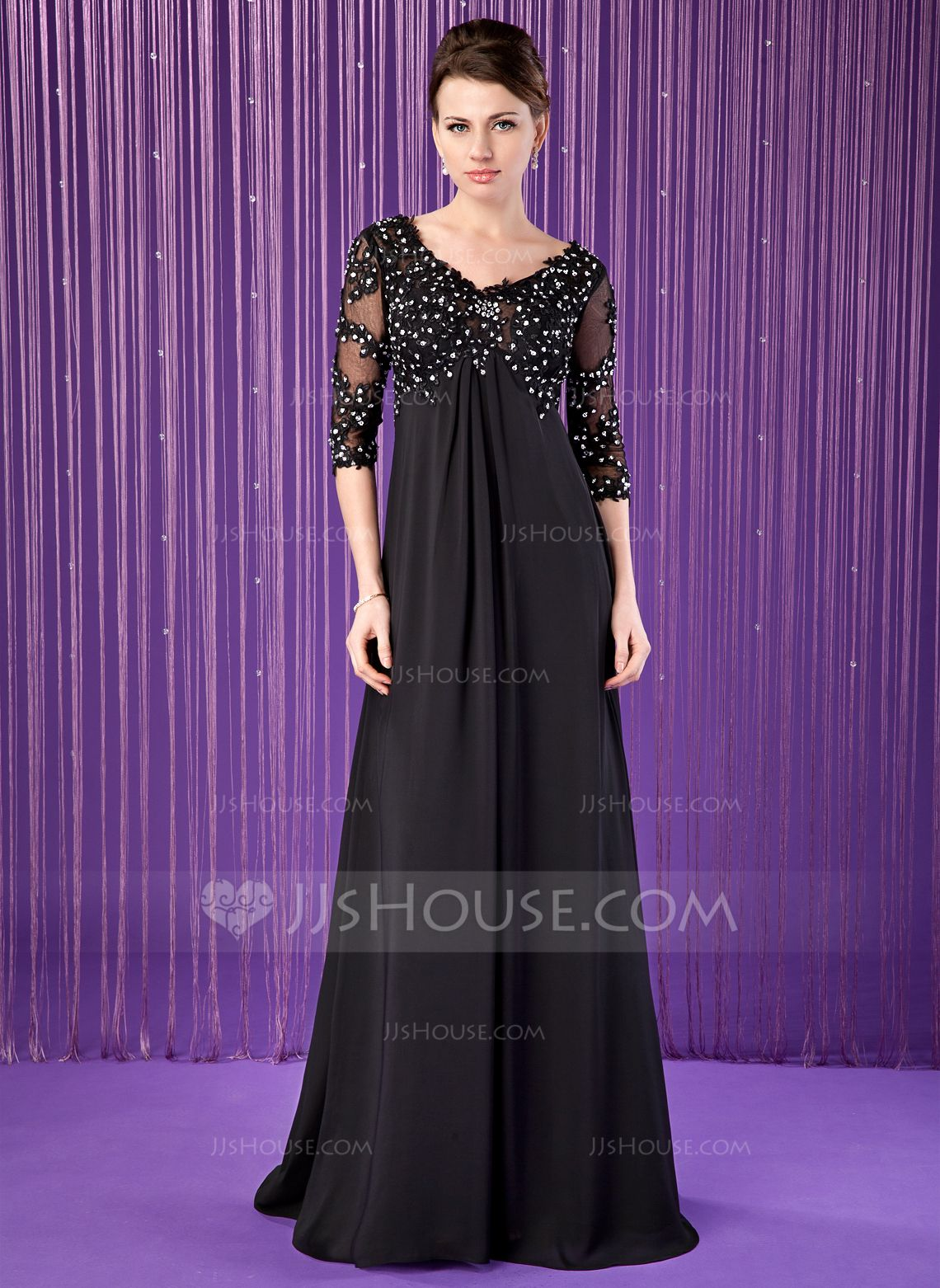 Empire V-neck Sweep Train Chiffon Tulle Mother of the Bride Dress ...