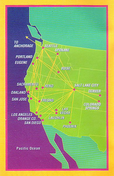 Morris Air Schedule Us Airline 1992 1993 Bought By Southwest After A Very Successful First Year Route Map Vintage Airlines Travel Planner
