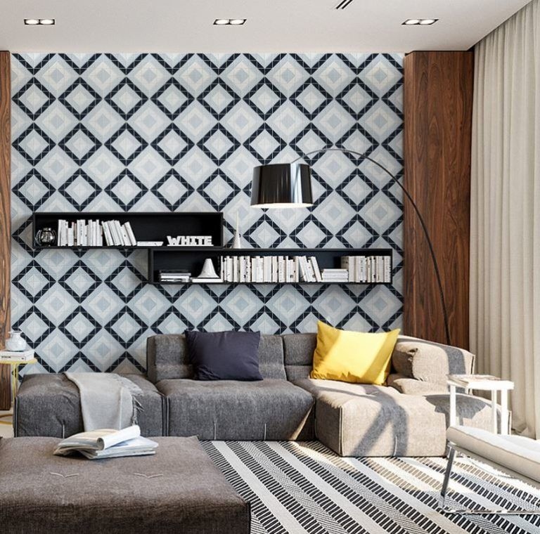 Impressive Wall Tiles Living Room Design
