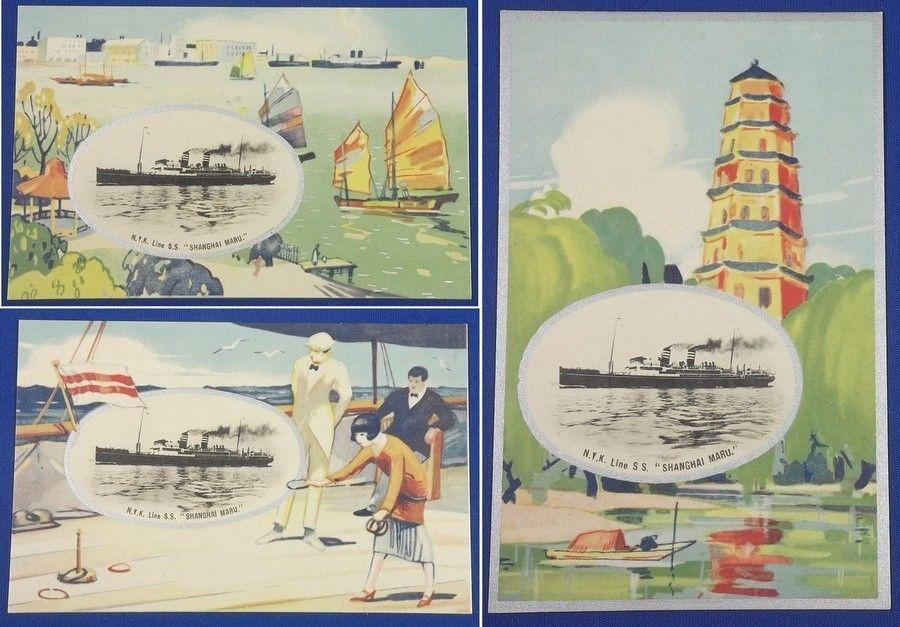 Vintage Japanese Postcards Nippon Yusen Kaisha NYK Line