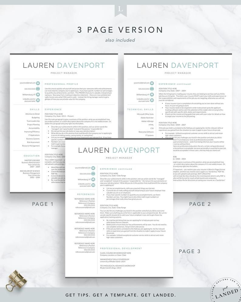 Resume template for word pages cv template modern