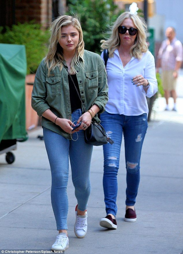 39a65255cca4bc Painted-on pants  Chloë Grace Moretz donned ultra-skinny jeans while out  and about with her mother Teri in New York on Wednesday