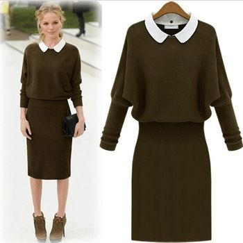 2014 Fashion autumn and winter medium-long one-piece dress knitted long-sleeve slim hip elegant peter pan collar dress dropship