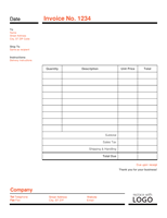 Business Invoice Red And Black Invoice Template Word Invoice Template Microsoft Word Invoice Template