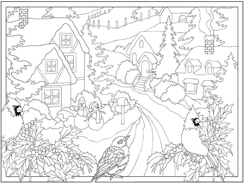 Printable Winter Coloring Pictures Winter Scene Coloring Pages