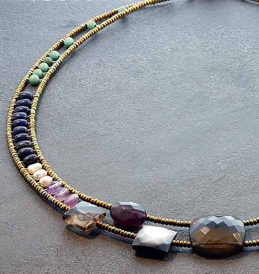 Ziio+Inca+Multi+Stone+Necklace+-+For+over+20+years,+designer+Elisabeth+Paradon+has+produced+a+hip+and+unique+fashion+line+inspired+by+her+travels+to+Greece,+Venice,+and+Thailand,+Her+creations+are+a+combination+of+semi-precious+stones,+silver,+and+Murano+glass+beads,+created+with+superb+craftsmanship+and+innovation.Metal:+Sterling+silverStones:+Amethyst,+quartz,+lapis,+pyrite,+turquoise,+pearls,+murano+glass+beadsLength:+16+to+18+inches+adjustableButton+closure